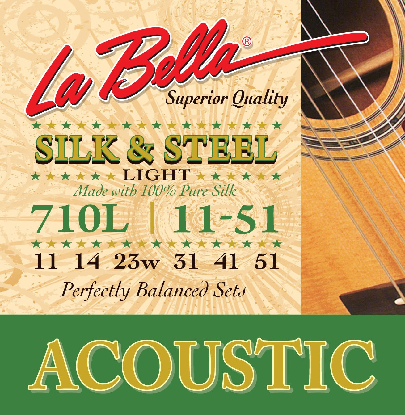 La Bella Acoustic Guitar Strings - Silk & Steel Series