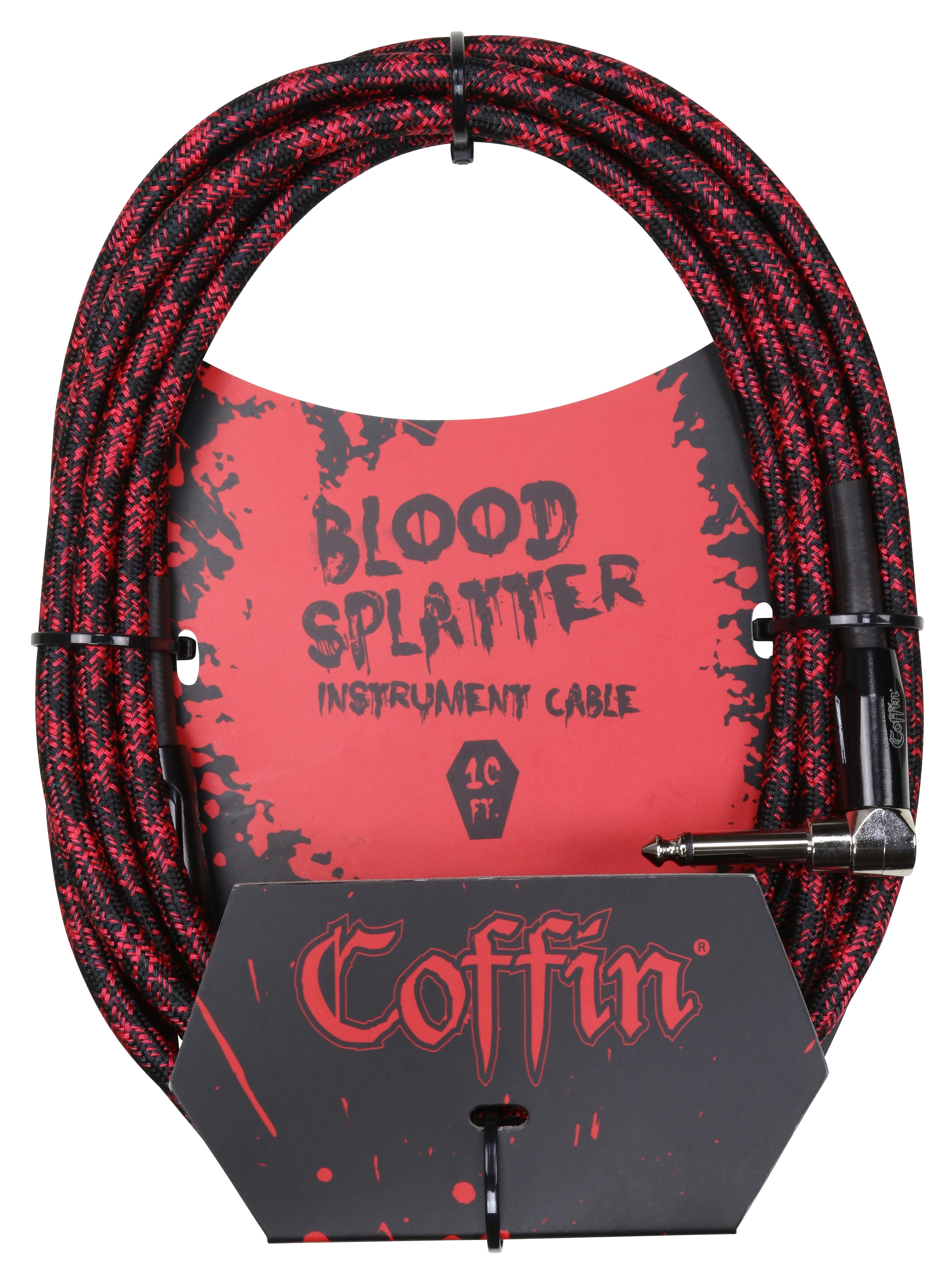 Coffin Case Bloodsplatter Instrument Cable 10ft - Right Angle