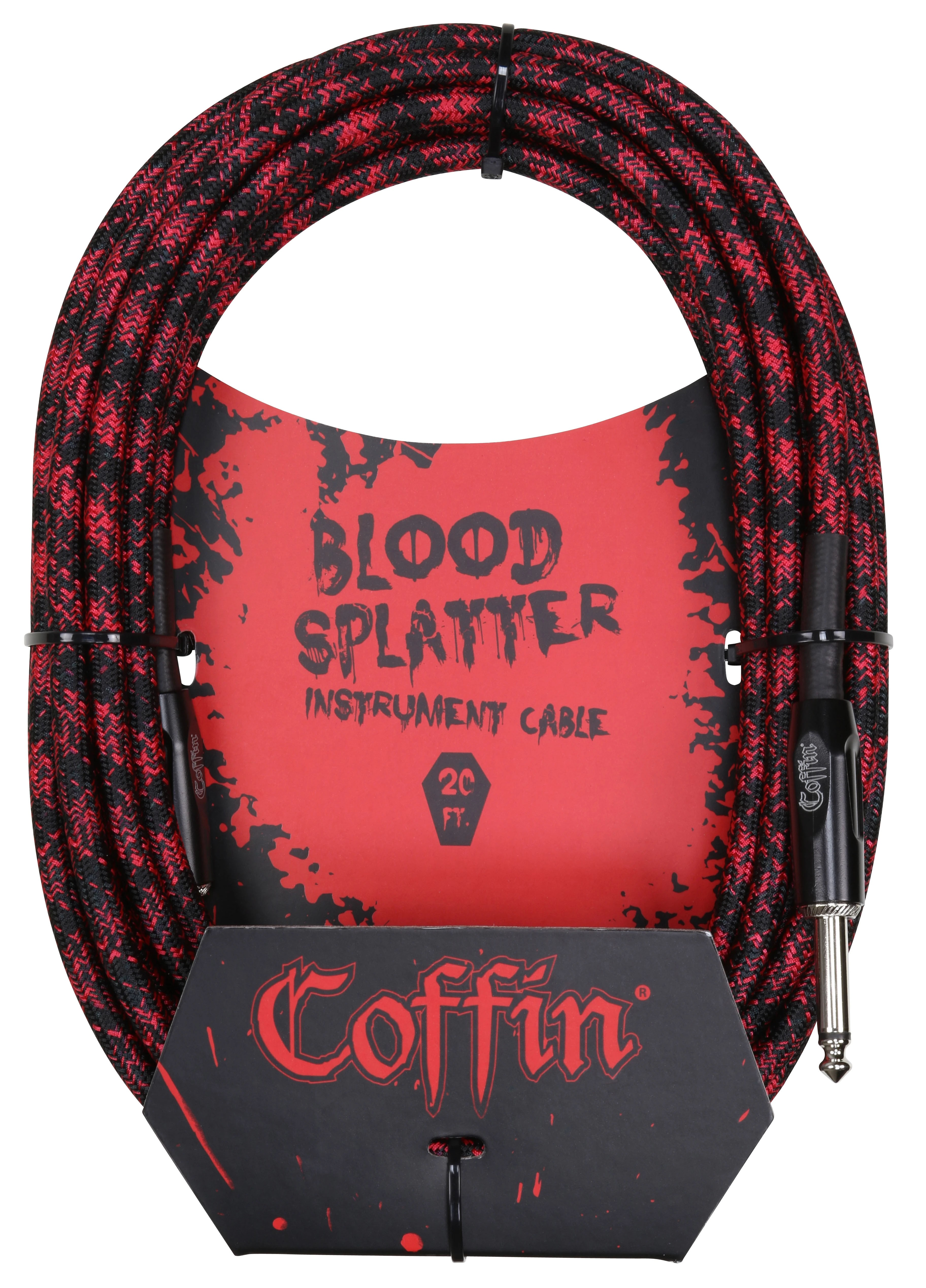 Coffin Case Bloodsplatter Instrument Cable 20ft - Straight