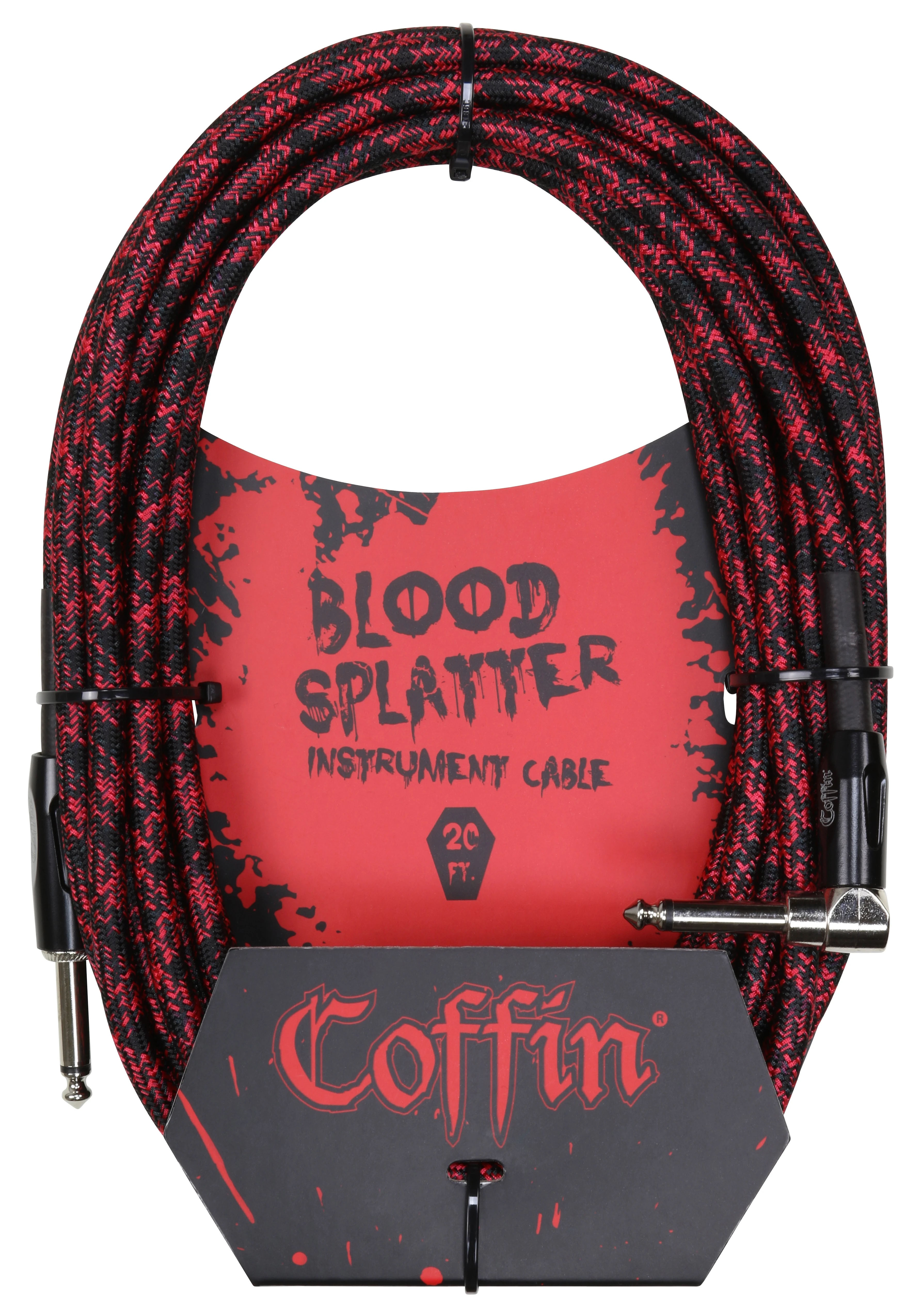 Coffin Case Bloodsplatter Instrument Cable 20ft - Right Angle