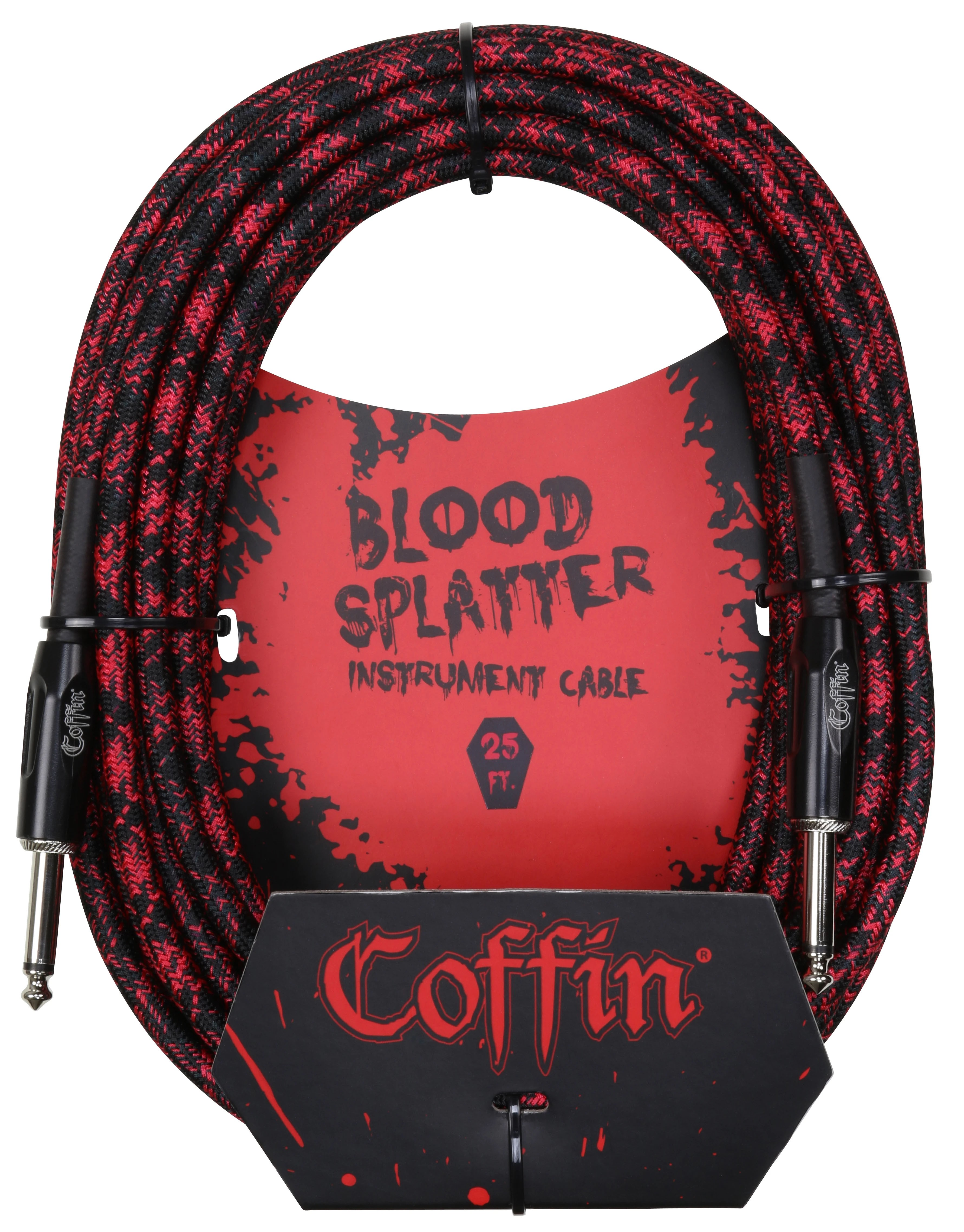 Coffin Case Bloodsplatter Instrument Cable 25ft - Straight