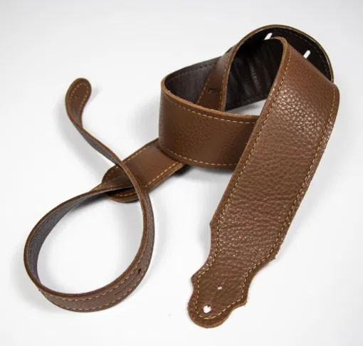 """Franklin 2"""" Purist Glove Leather Guitar Strap - Caramel with Gold Stitching"""