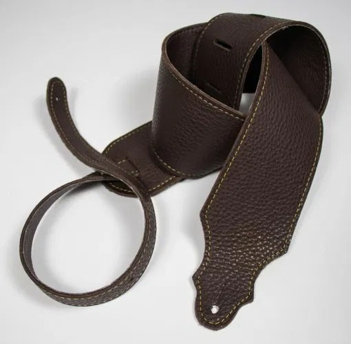 """Franklin 3"""" Purist Glove Leather Guitar Strap - Chocolate with Gold Stitching"""