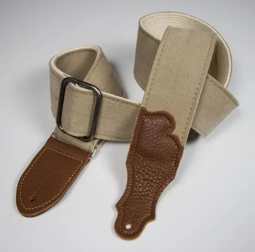 """Franklin 2"""" Distressed Canvas Guitar Strap with Leather End Tab - Natural with Chocolate Tabs"""