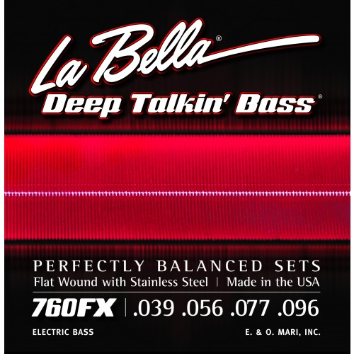La Bella Bass Guitar Strings - Stainless Steel Flat Wound for Through Body Basses