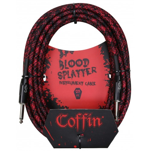 Coffin Case Bloodsplatter Instrument Cable 25ft - Straight