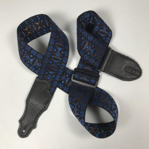 "Franklin 2"" Woven Folk Guitar Strap - Blue Pattern"