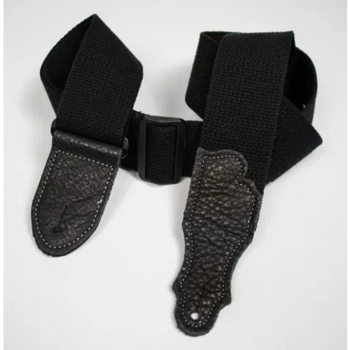 """Franklin 2"""" Cotton Guitar Strap with Glove Leather End Tab - Black"""