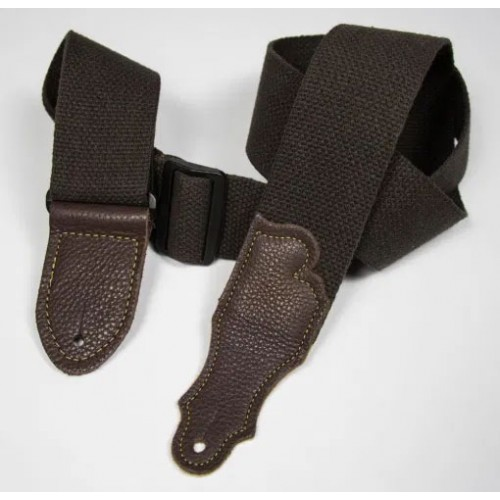 """Franklin 2"""" Cotton Guitar Strap with Glove Leather End Tab - Chocolate"""