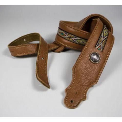 """Franklin 2"""" Southwest Padded Leather Guitar Strap - Caramel"""