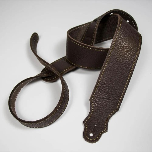 """Franklin 2"""" Purist Glove Leather Guitar Strap - Chocolate with Gold Stitching"""