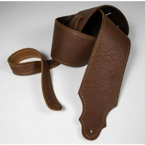 """Franklin 3"""" Purist Glove Leather Guitar Strap - Caramel with Gold Stitching"""