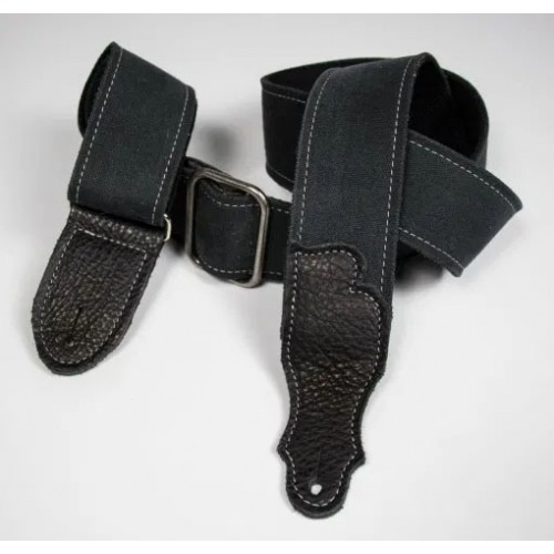 """Franklin 2"""" Distressed Canvas Guitar Strap with Leather End Tab - Black with Black Tabs"""