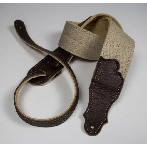 """Franklin 2"""" Hemp 2-Fold with Suede Backing - Chocolate Leather End Tabs"""
